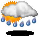 Слабый ливневый дождь Облачно